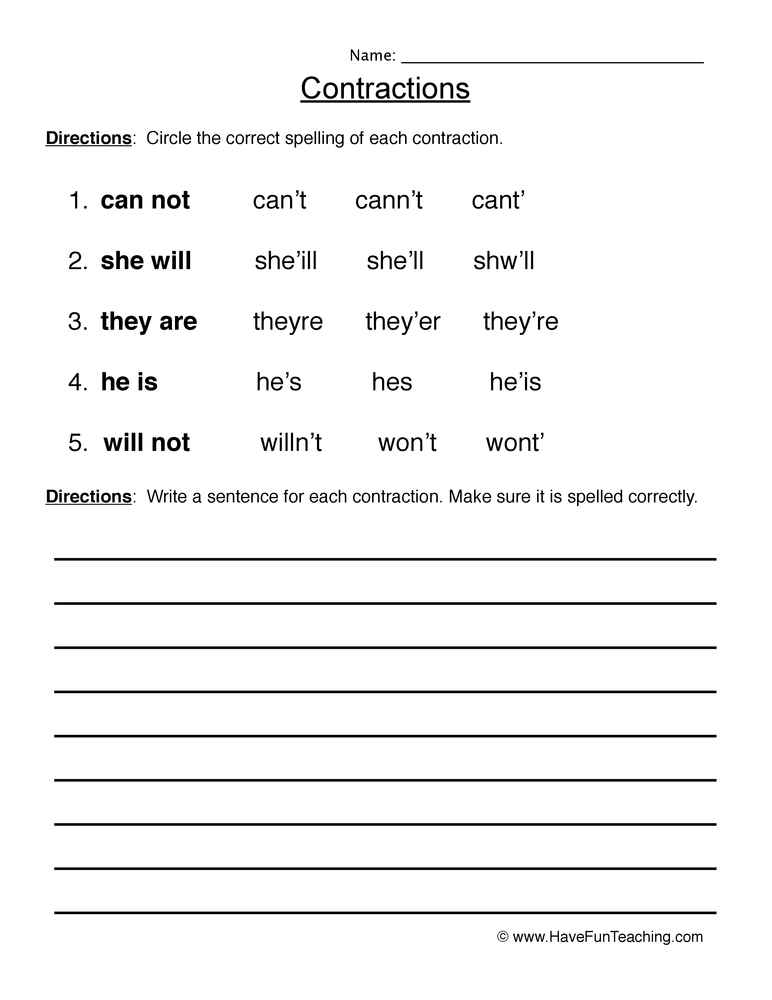 Contractions Worksheets - Have Fun Teaching