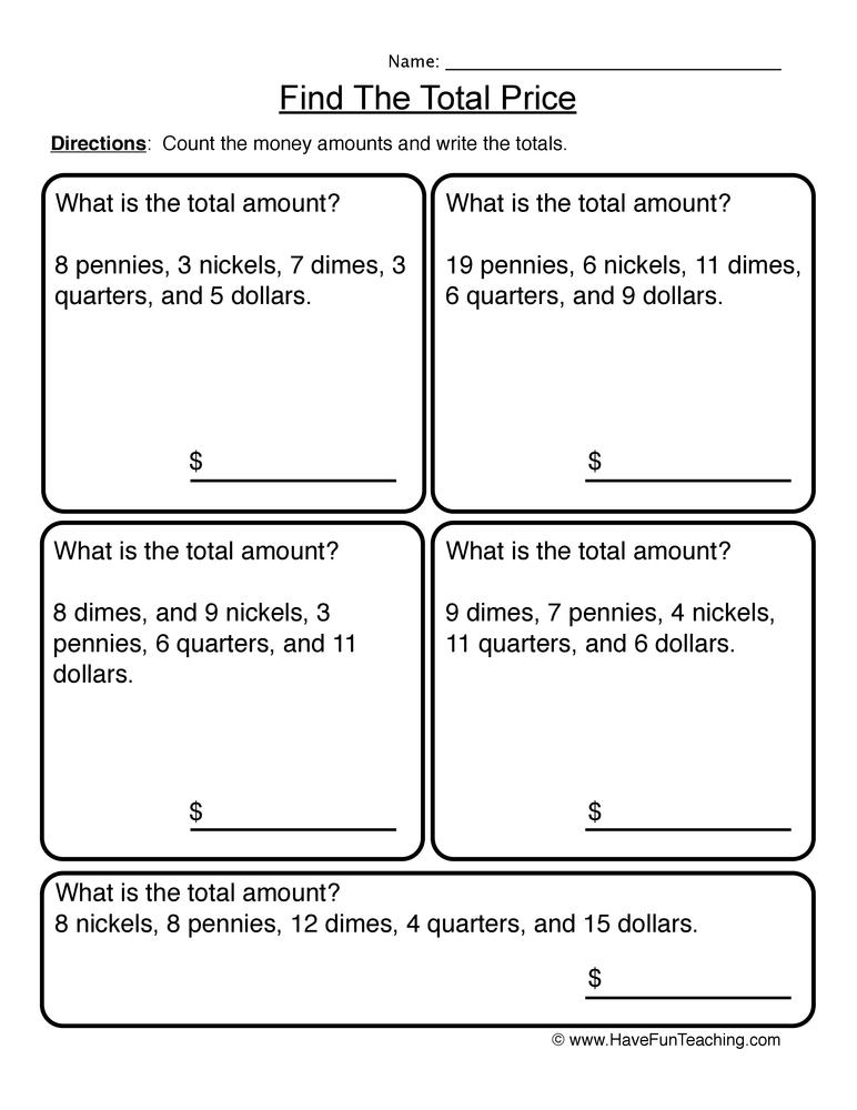 Money Worksheets – Money Identification Worksheets