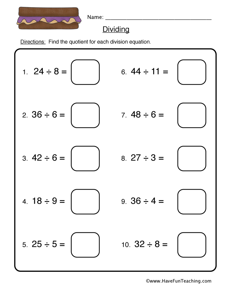 Division Worksheets - Have Fun Teaching