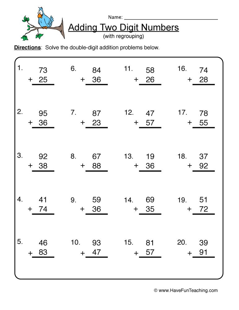 Printables Double Digit Addition Worksheets double digit addition worksheet 4 4