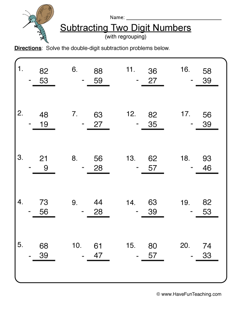 double digit subtraction worksheet 3