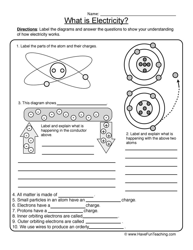 Matter Worksheets – Atoms Worksheets
