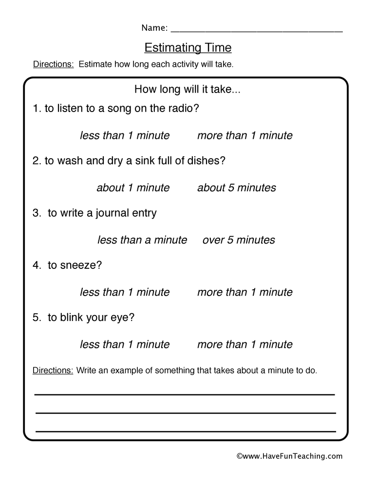 estimation worksheet 2