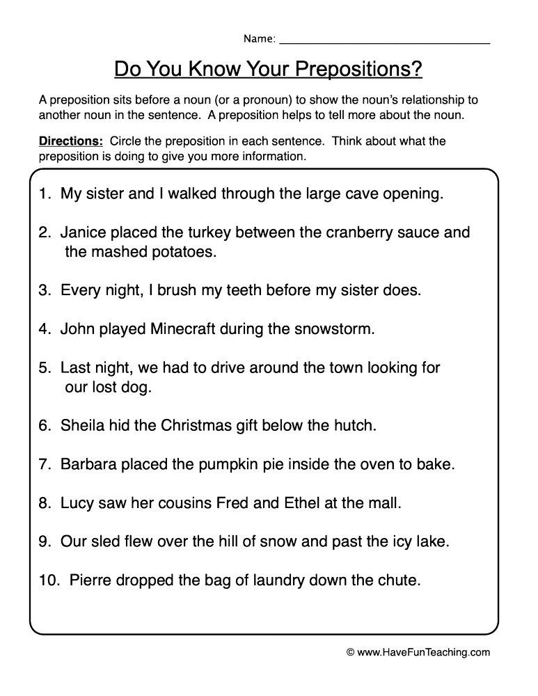 Find Prepositions Worksheet Have Fun Teaching