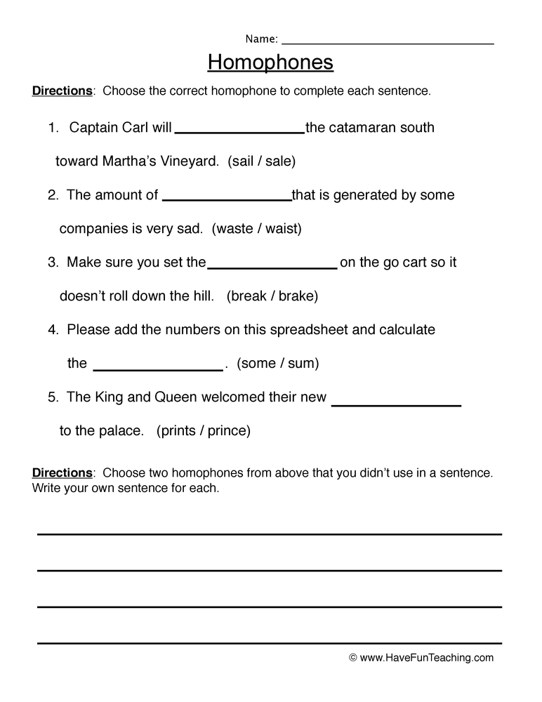 Homophones Worksheets - Have Fun Teaching