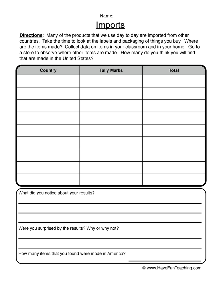 imports exports worksheet 1