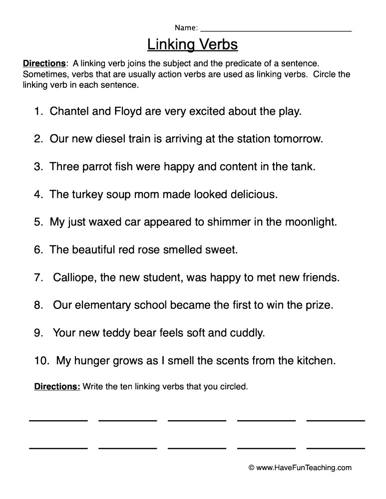 Locating Linking Verbs Worksheet • Have Fun Teaching