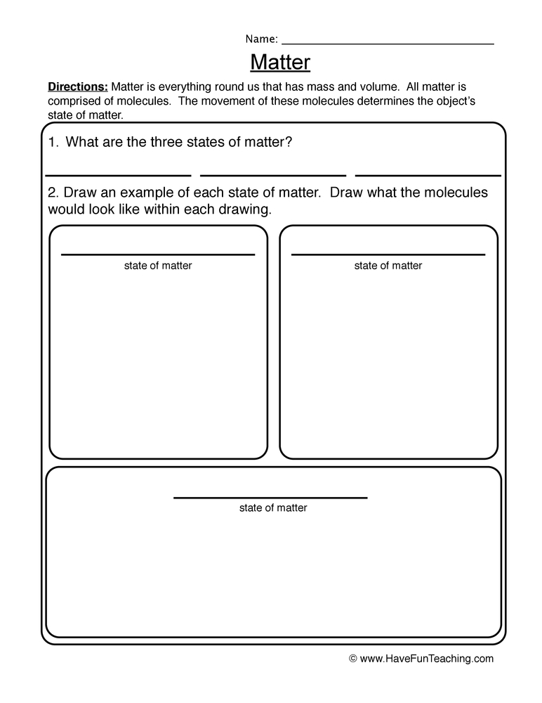 Matter Worksheet | Have Fun Teaching