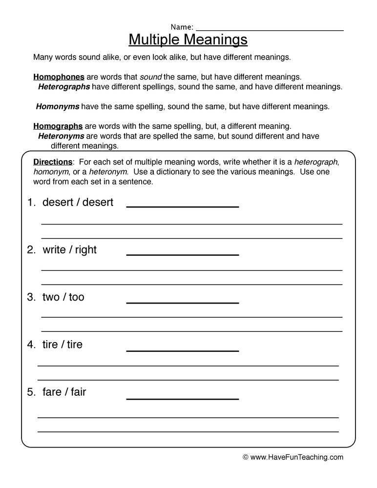 math worksheet : homophones worksheets  have fun teaching : Multiple Meaning Words Worksheets 4th Grade