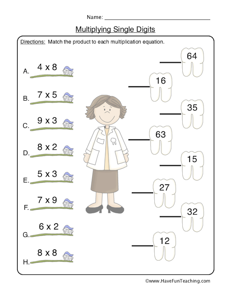 Matching Multiplication Products Worksheet | Have Fun ...