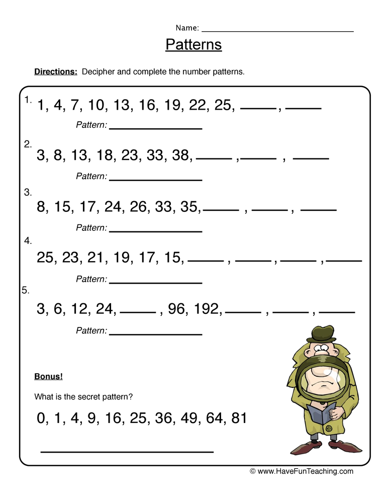 Pattern Worksheets  Have Fun Teaching