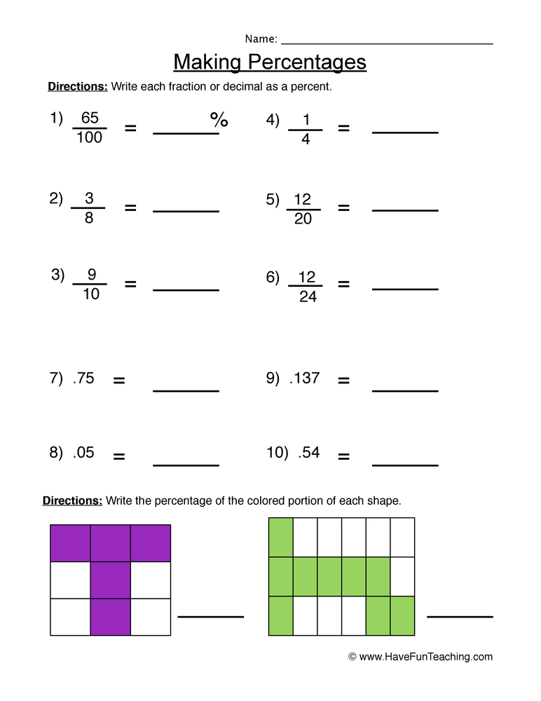 percentages worksheet 2