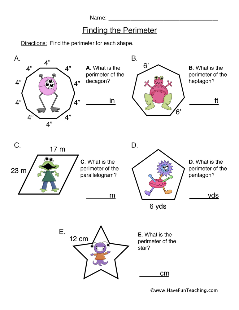 Printable Worksheets simple perimeter worksheets Perimeter Worksheets | Have Fun Teaching