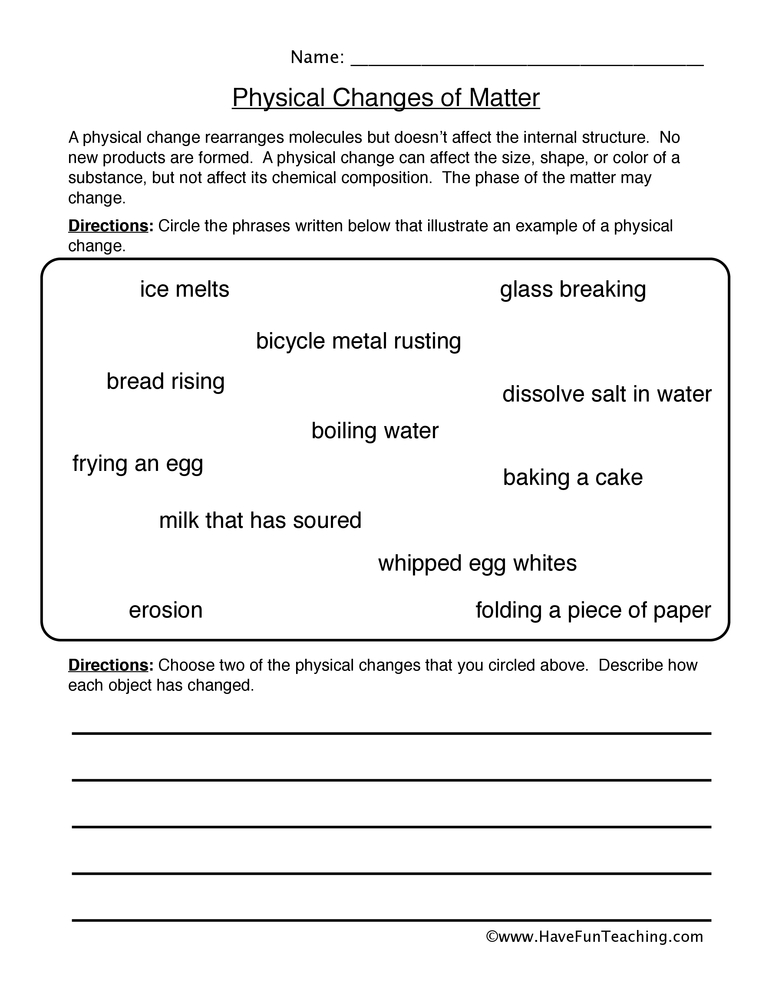 Physical Changes Matter Worksheet Have Fun Teaching