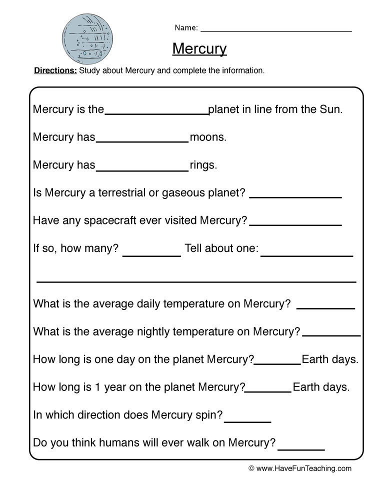 planet worksheet 1