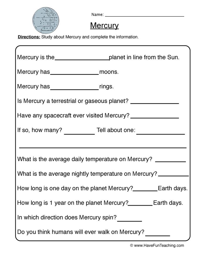 Mercury – Planet Worksheet 1