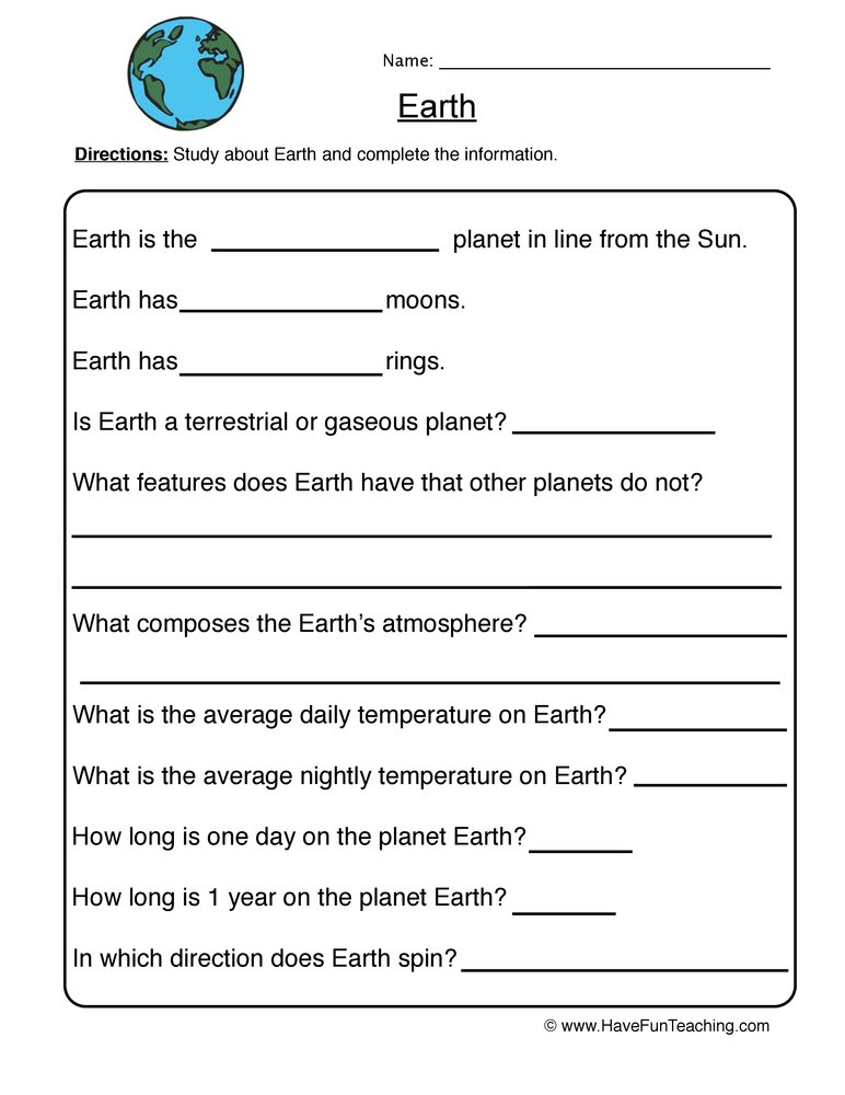 planet worksheet 3