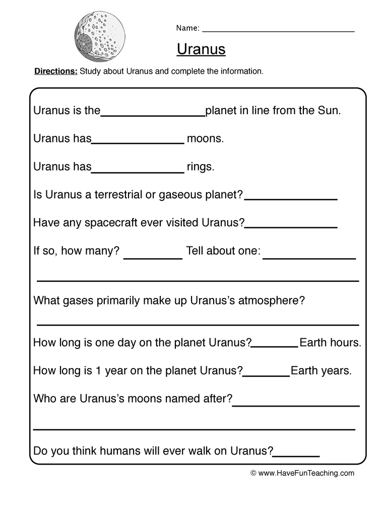 planet worksheet 7