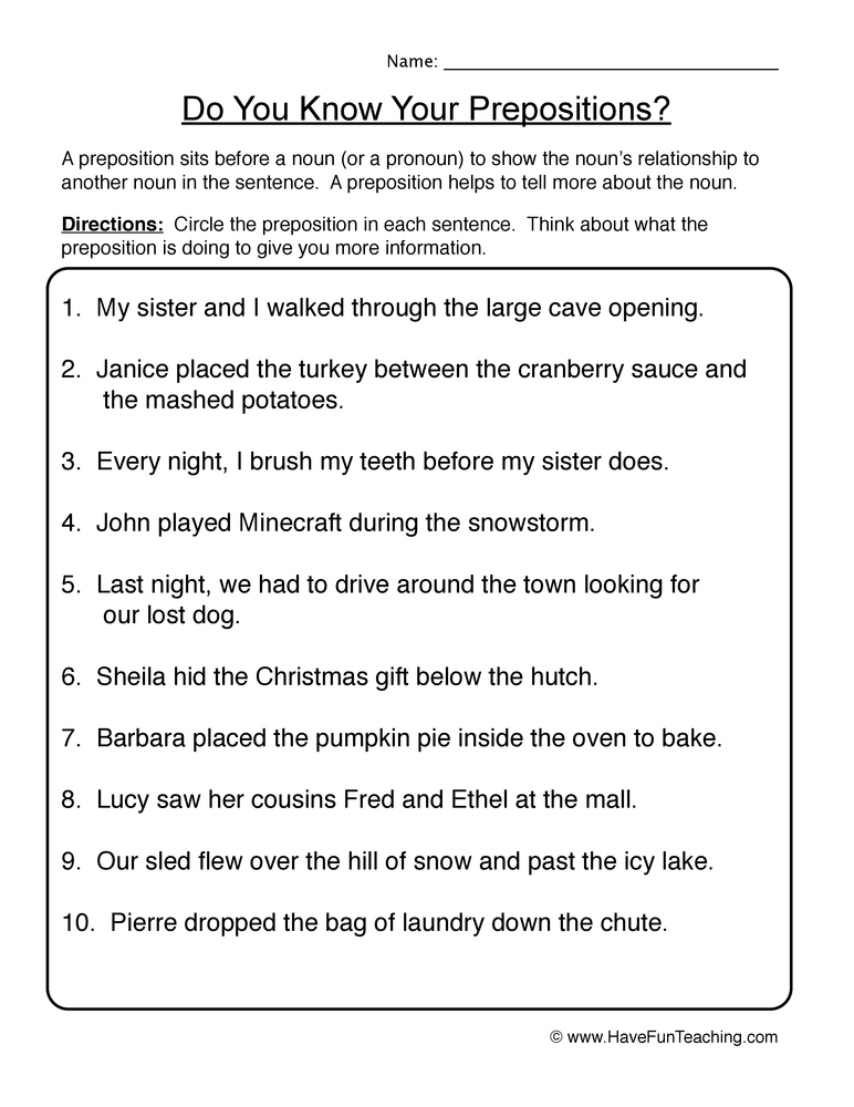prepositions worksheet 1