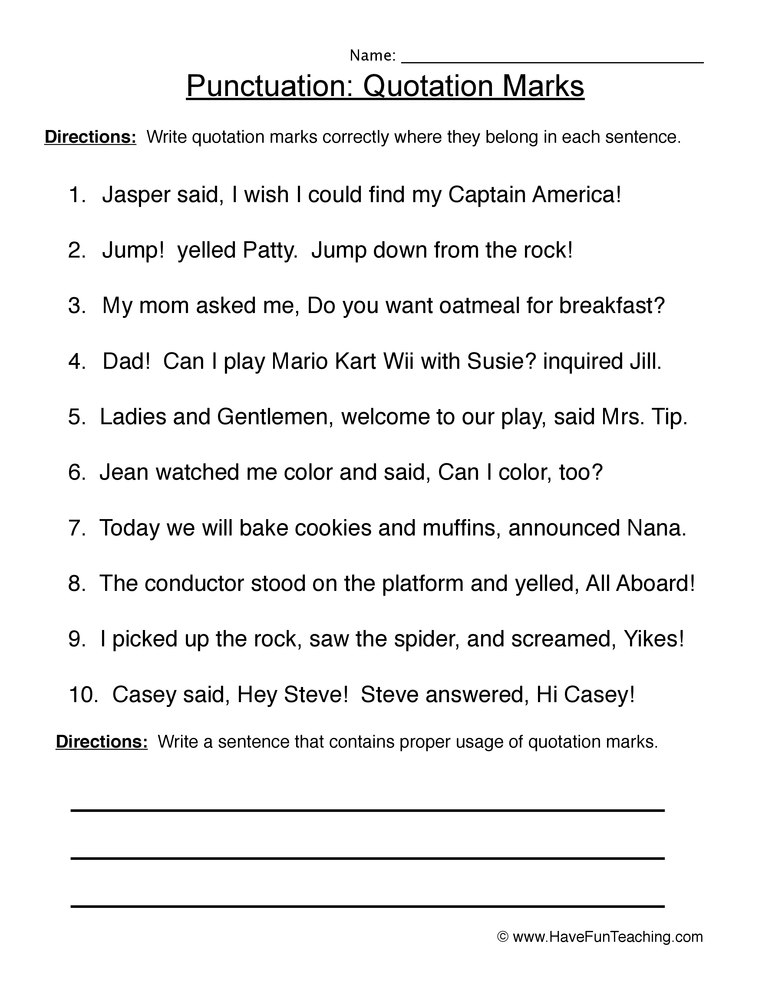 punctuation worksheet 3