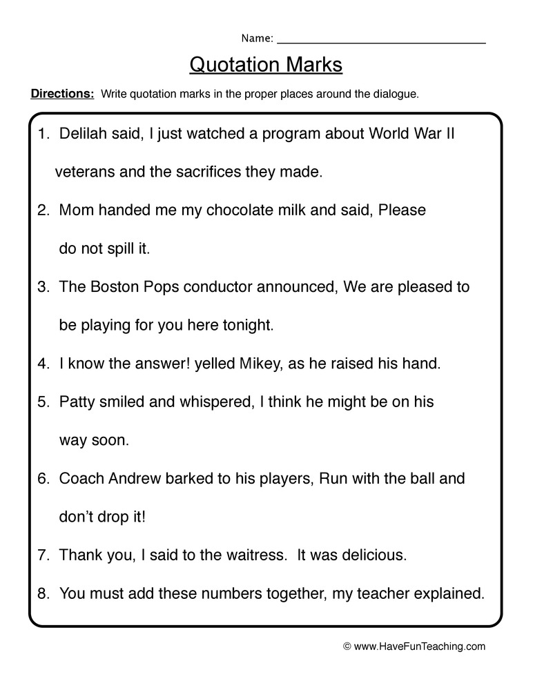 Worksheet Quotation Marks Worksheets quotation marks worksheet 1 1
