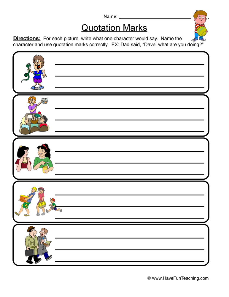 quotation marks worksheet 2