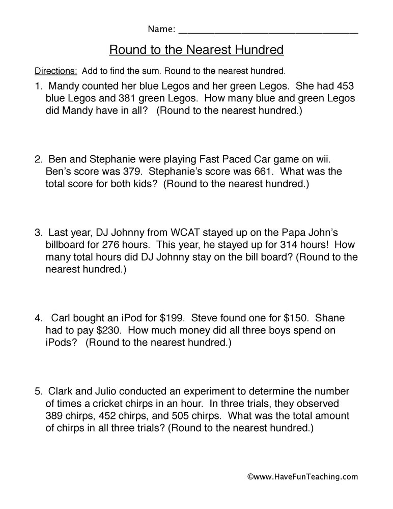 Round to the Nearest Hundred Word Problems Worksheet