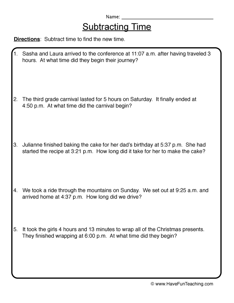 Subtracting Time Problems Worksheet