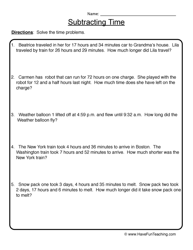 subtracting time worksheet 2