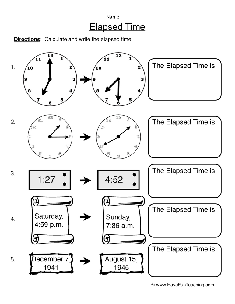 elapsed time telling time worksheet 3. Black Bedroom Furniture Sets. Home Design Ideas