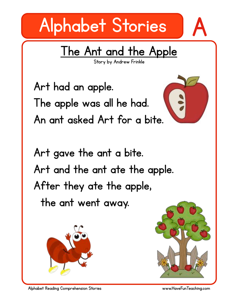 alphabet stories comprehension a