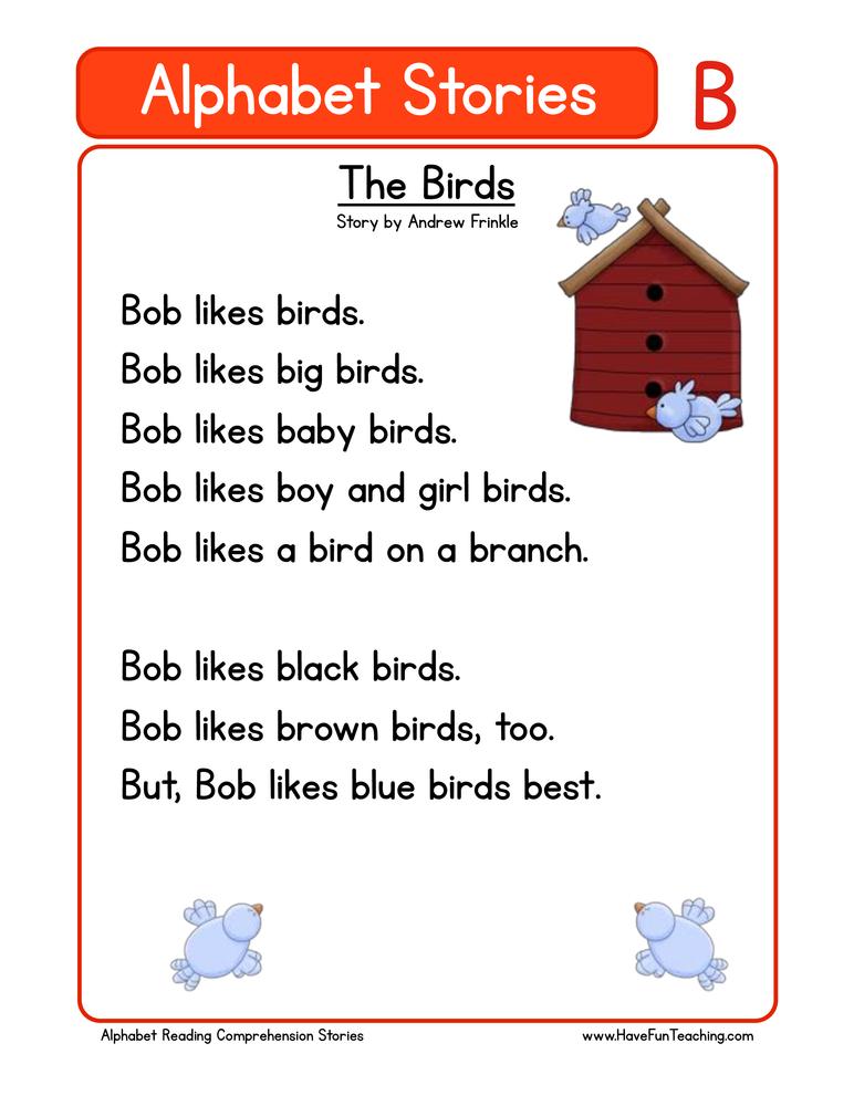 alphabet stories comprehension b