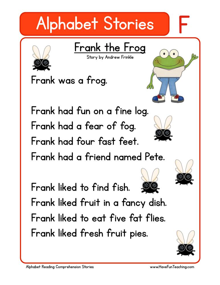 Kindergarten Reading Comprehension Worksheet – Alphabet Stories ...