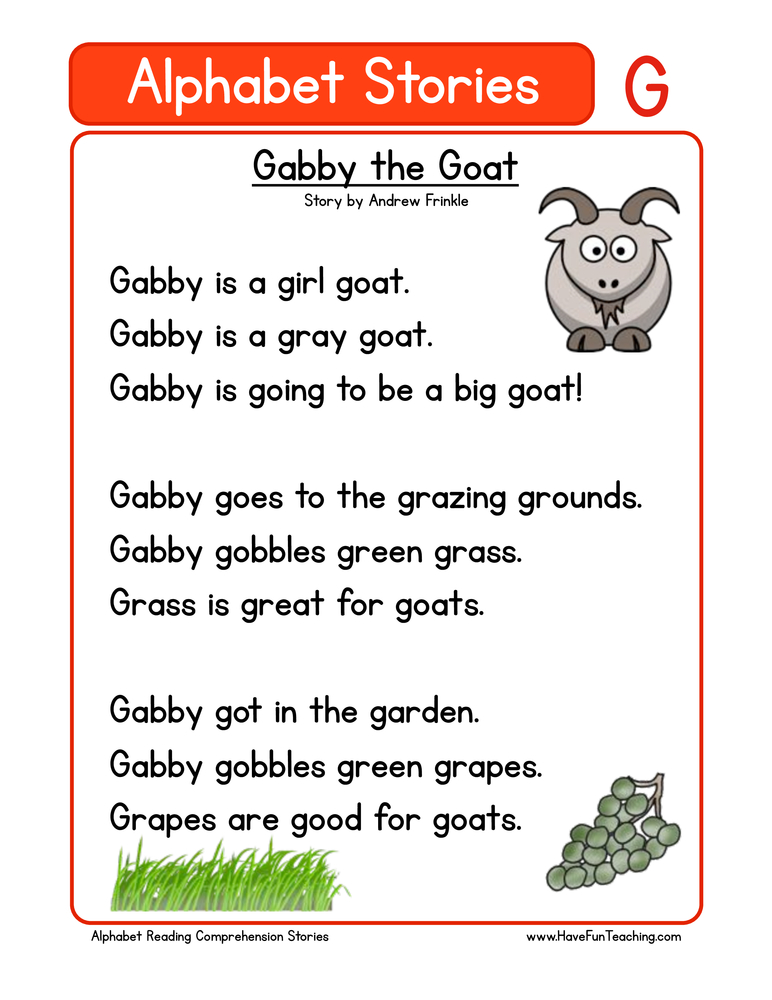 alphabet stories comprehension g