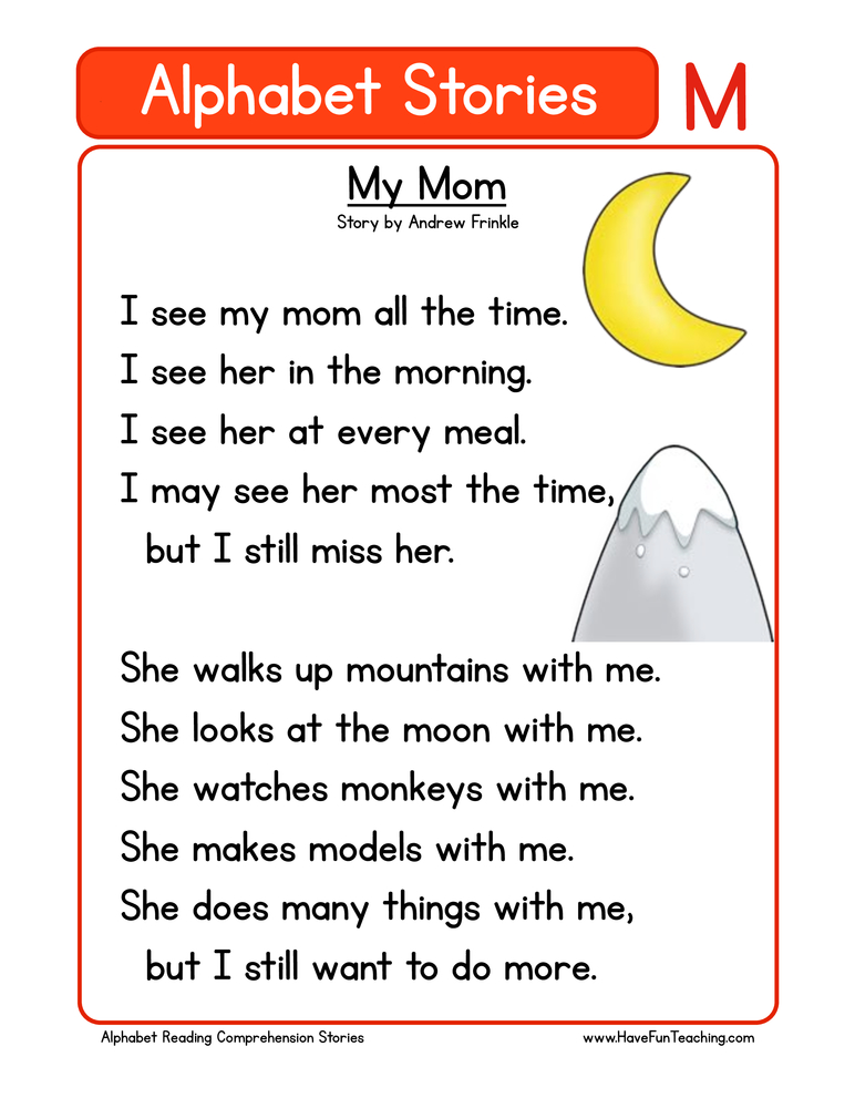 alphabet stories comprehension m