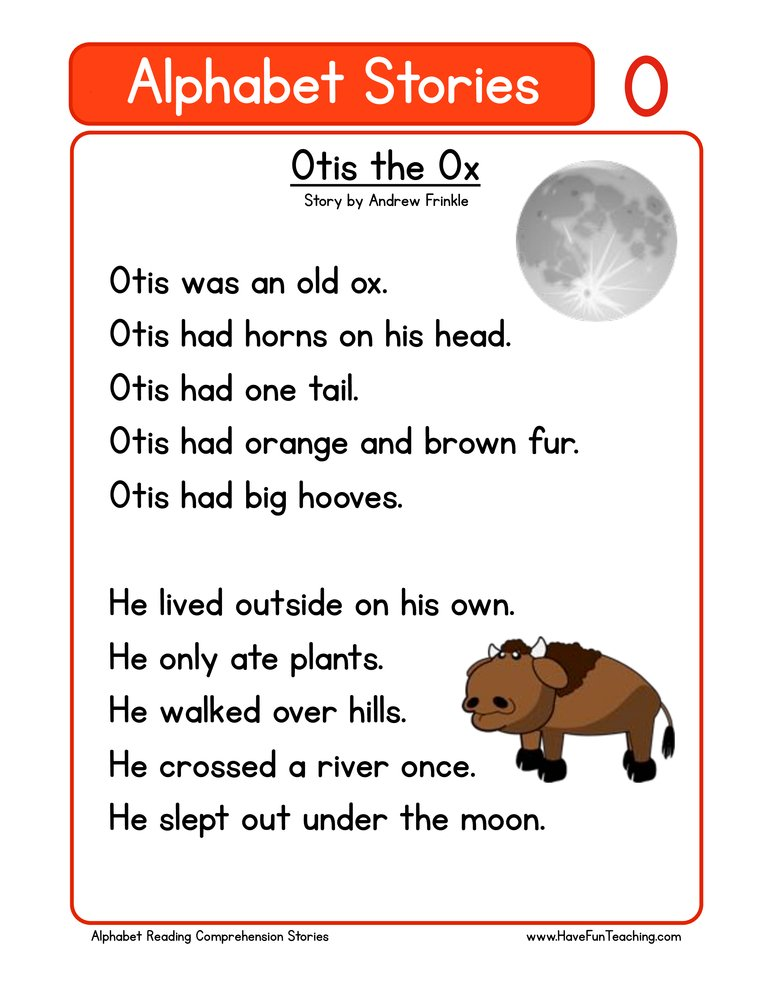 alphabet stories comprehension o