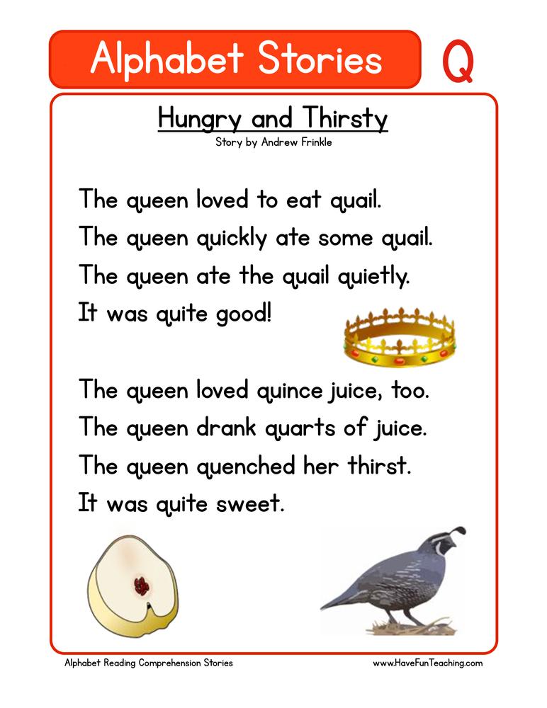 alphabet stories comprehension q