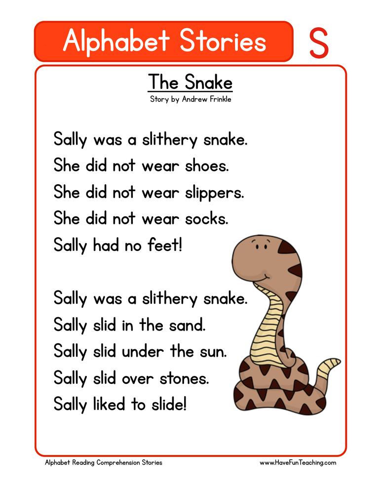 Alphabet Stories Letter S Reading Comprehension Worksheet