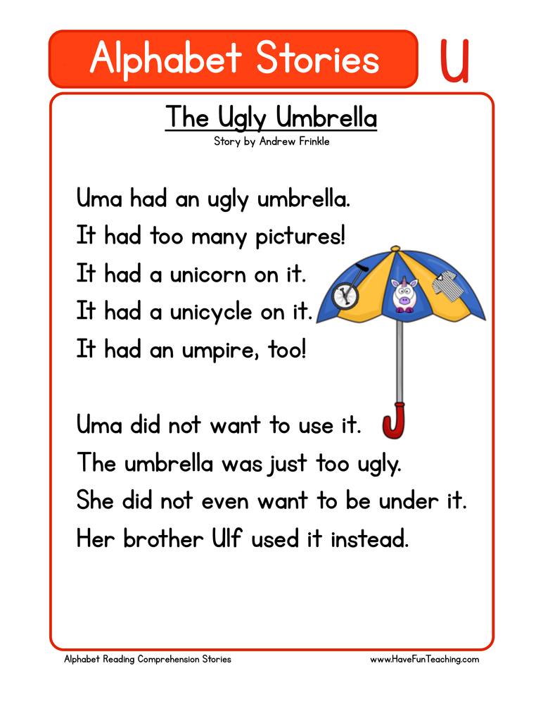 alphabet stories comprehension u
