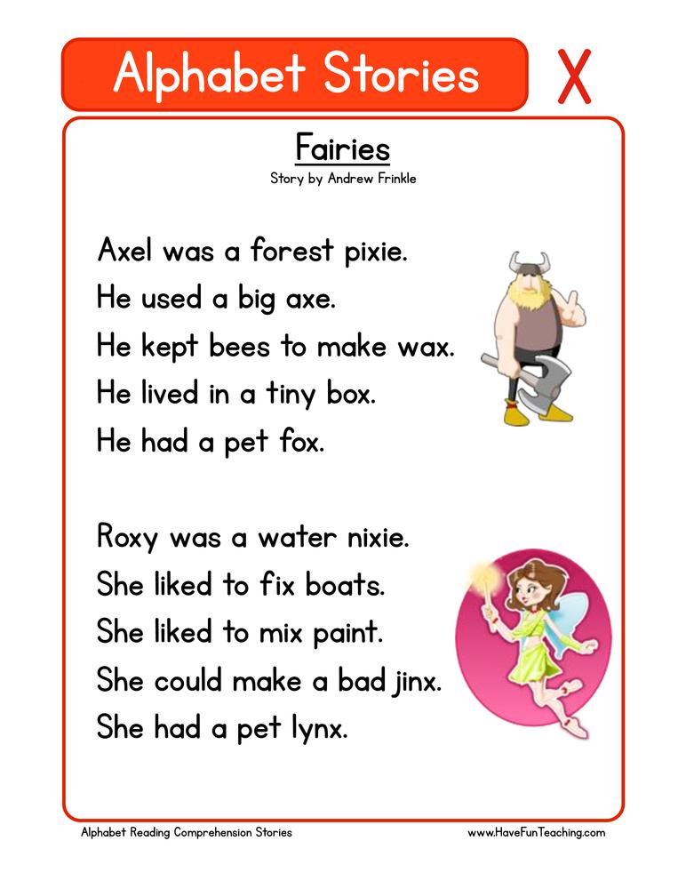 alphabet stories comprehension x