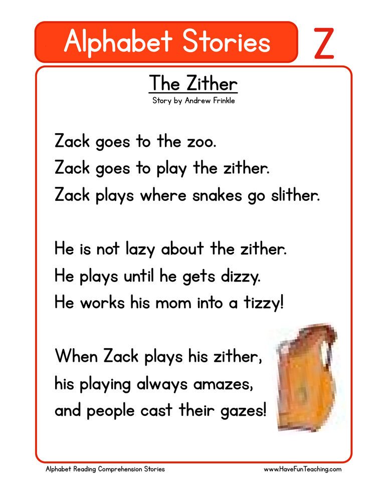 Alphabet Stories Letter Z Reading Comprehension Worksheet ...