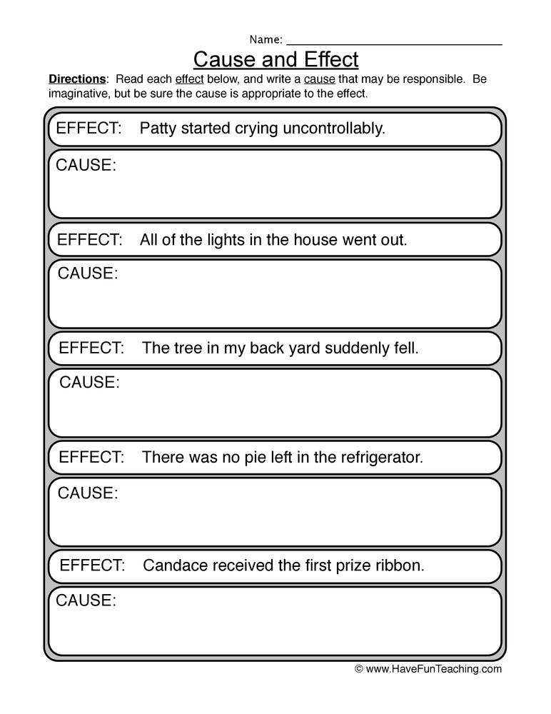 cause effect worksheet 2
