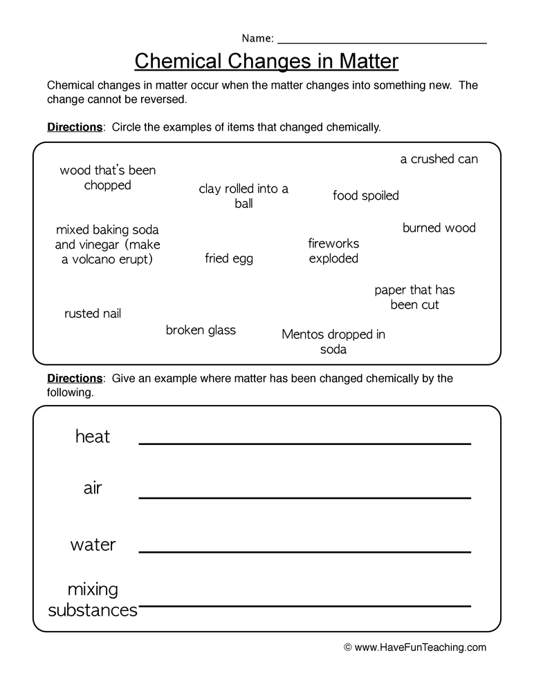 Printables Physical And Chemical Changes Worksheet worksheet on physical and chemical changes pichaglobal