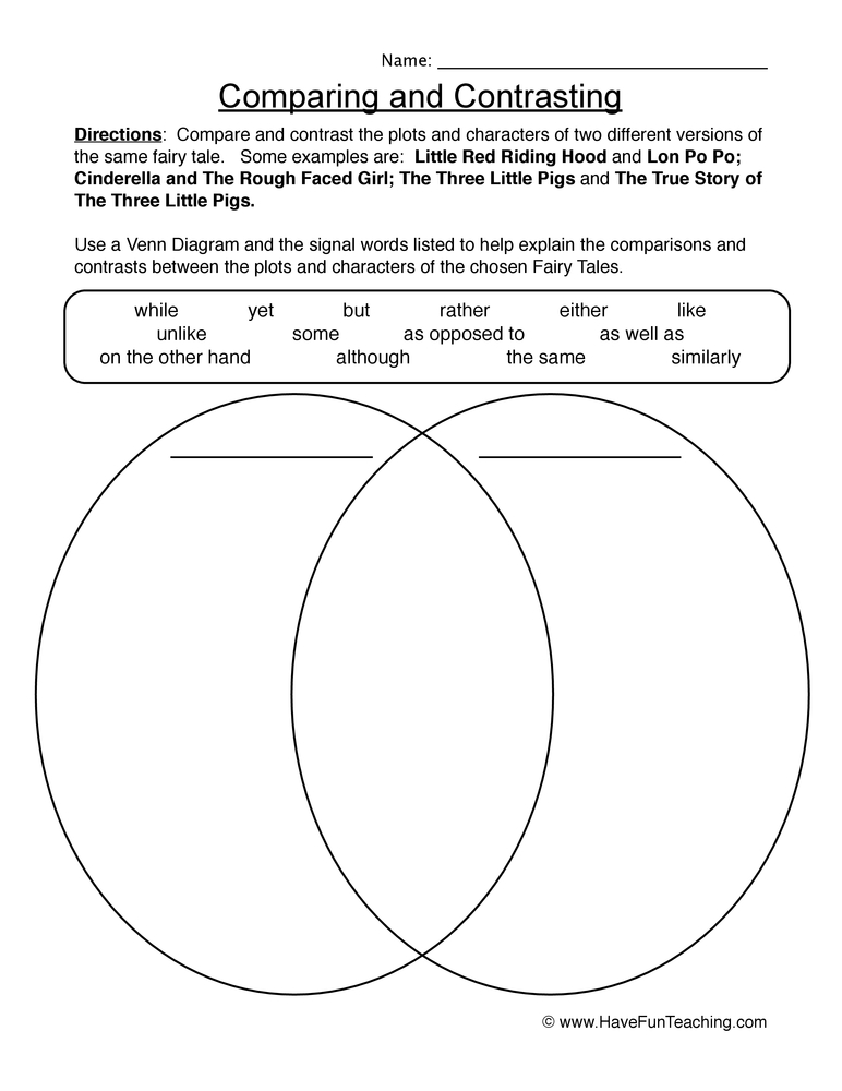 compare contrast worksheet 1
