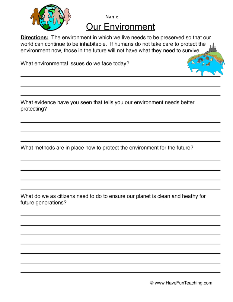 Environments Worksheets - Have Fun Teaching