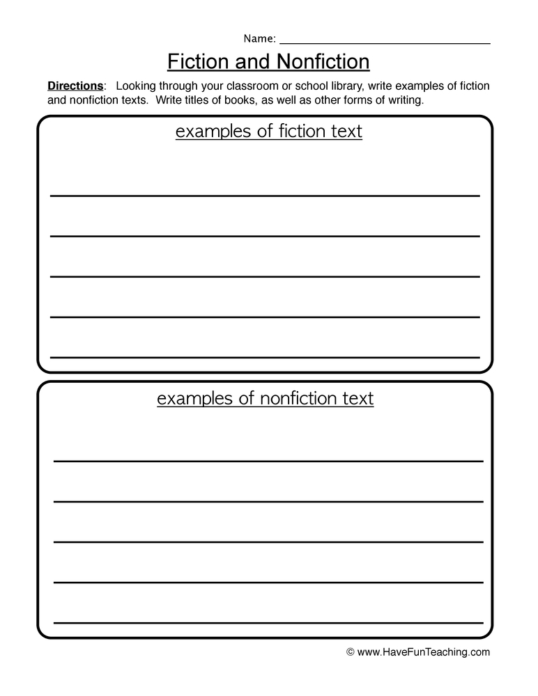 fiction vs nonfiction worksheet lesupercoin printables worksheets. Black Bedroom Furniture Sets. Home Design Ideas