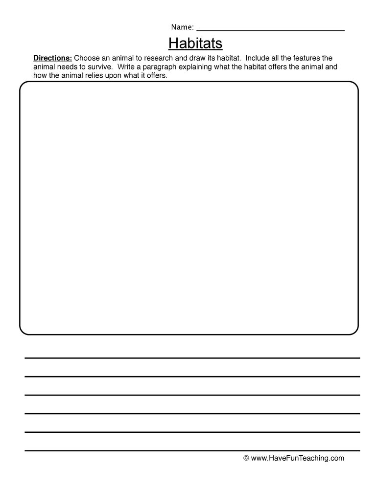habitats worksheet 2