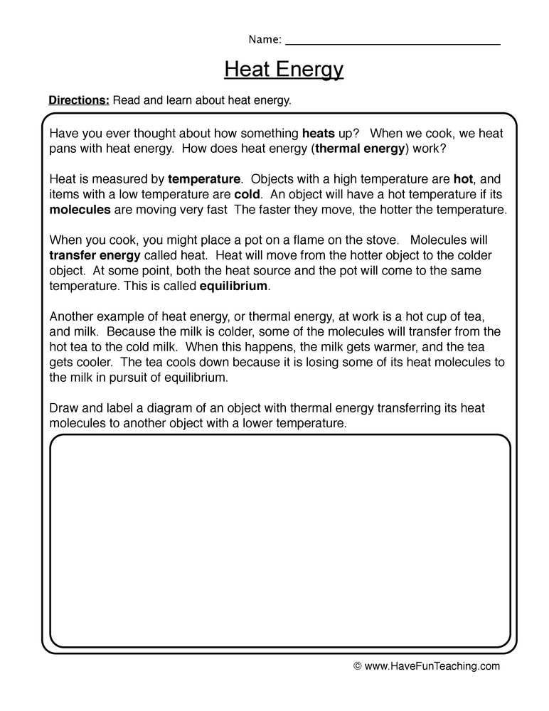 heat energy worksheet 1