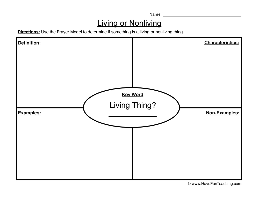 living non living worksheet 1