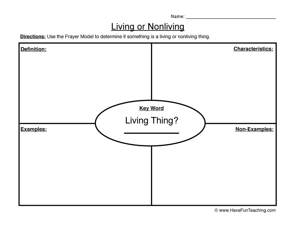 living non living worksheet 1